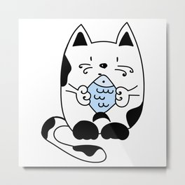 Cat with a fish Metal Print