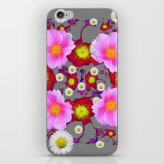 Modern Grey  Art  Purple-Red Fuchsia  Rose & Daisy Flowers iPhone & iPod Skin