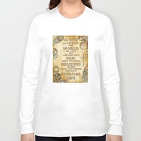bible verse Long Sleeve T-shirts featuring Steampunk Bible Verse For God So Loved the World by Whimsy and Nonsense