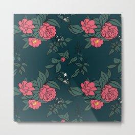Camellia & Jasmine on dark blue Metal Print