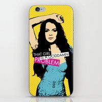 lindsay lohan iPhone & iPod Skins featuring Problem / Lindsay Lohan by Justified