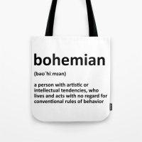 bohemian Tote Bags featuring bohemian by bohemianizm