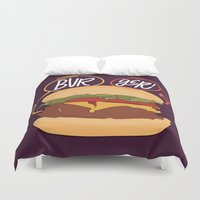 burger Duvet Covers featuring Burger! by Chelsea Herrick