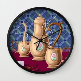 Coffee pot and two cups Wall Clock
