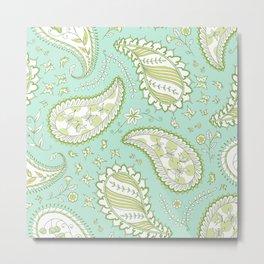 Pretty Paisley - Aqua/Green Metal Print