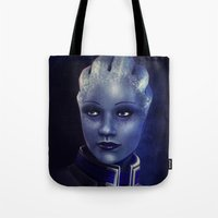 mass effect Tote Bags featuring Mass Effect: Liara T'soni by Ruthie Hammerschlag