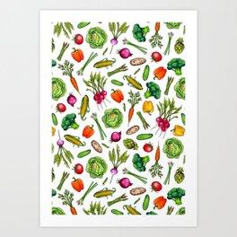 Vegetable Garden - Summer Pattern With Colorful Veggies Art Print