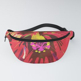 Red Hibiscus Flower Watercolor Portrait Fanny Pack