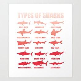 Shark species sharks white shark hammerhead whale shark gift Art Print