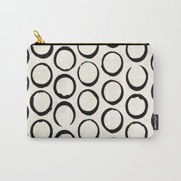 Polka Dots Circles Tribal Black and White Carry-All Pouch