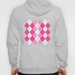 Argyle Design in Pink and White Hoody