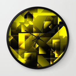Gold squares and rhombuses. Wall Clock