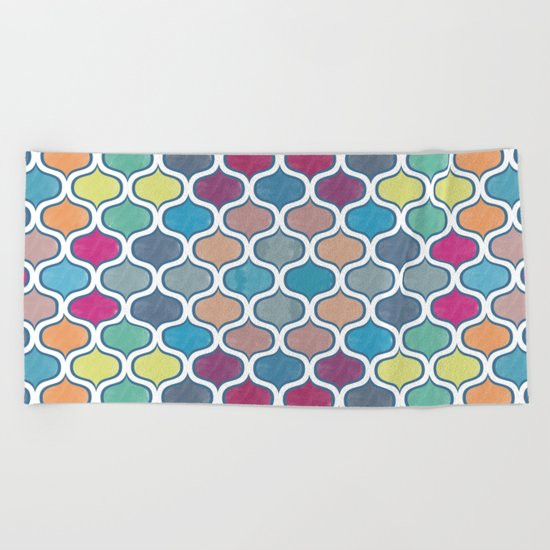 Watercolor Lovely Pattern VVX Beach Towel