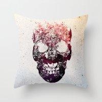 skull Throw Pillows featuring SKULL by Ali GULEC