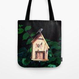 Little Wren on Birdhouse Tote Bag