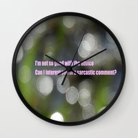 sarcasm Wall Clocks featuring Bokeh Sarcasm by Casey J. Newman