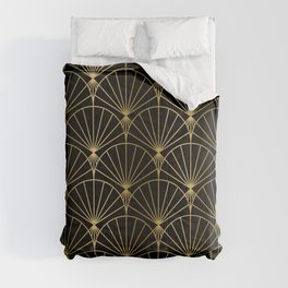 Black and gold art-deco geometric pattern Comforters
