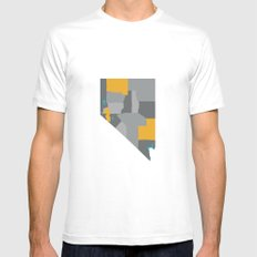 Nevada State Map Print MEDIUM Mens Fitted Tee White