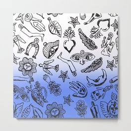 Milagros Dip Dye Blue Metal Print