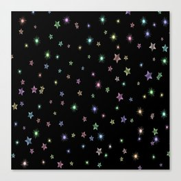 Colored Sparkling Stars Canvas Print