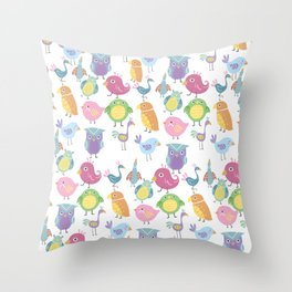 Hand drawn pink blue green orange birds illustration Throw Pillow