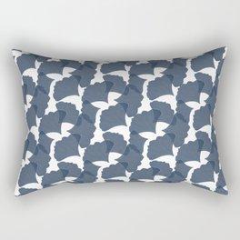 Azure Maidenhair Leaves Rectangular Pillow