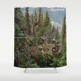 Flying through the mountains forest Shower Curtain