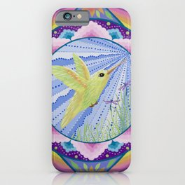 Golden Hummingbird Mandala iPhone Case
