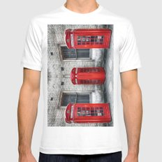 London phone booths red  MEDIUM Mens Fitted Tee White