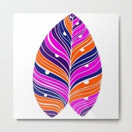 Jungle Leaf Orange, Purple, Pink Metal Print