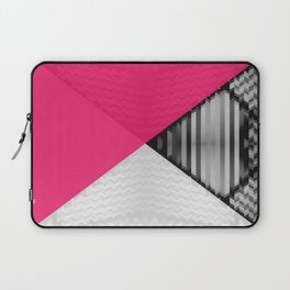 Black White and Bright Pink Laptop Sleeve