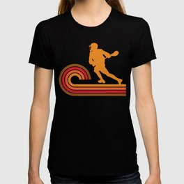 Retro Style Lacrosse Player Silhouette Sports T-shirt