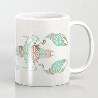 rose gold Mugs featuring Scorpion – Mint & Rose Gold by Cat Coquillette
