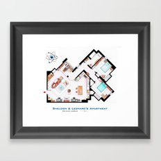 Sheldon and Leonard's apartment floorplan from TBBT Framed Art Print