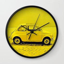 A classic, vintage 500 Italian car in sunshine yellow Wall Clock
