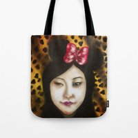 minnie Tote Bags featuring minnie by NAME THEGREY
