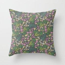 Pink hyacinth with chamomile and green hop on dark background Throw Pillow