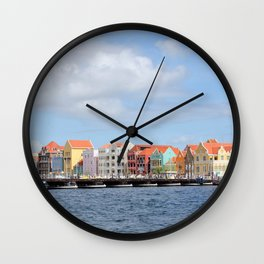 Colorful Houses of Willemstad, Curacao Wall Clock