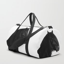 Black beauty Friesian stallion Duffle Bag