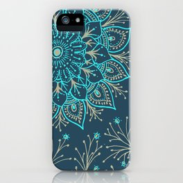 Teal Gold Mandala iPhone Case