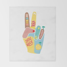 Motivational Peace Fingers Throw Blanket