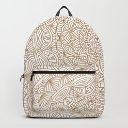 Brown Tan Intricate Detailed Hand Drawn Mandala Ethnic Pattern Design Backpack