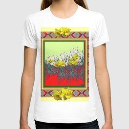 DECORATIVE RED-GOLD WHITE DAFFODIL GARDEN  ART T-shirt