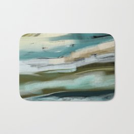 Blue and Green Ocean and Sand Abstract Bath Mat