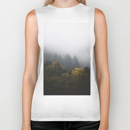 Autumn forest wrapped in fog Biker Tank