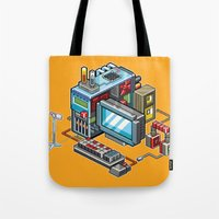 computer Tote Bags featuring 8bit computer by Sergey Kostik