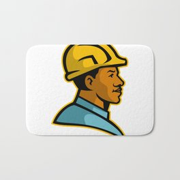 African American Construction Worker Mascot Bath Mat