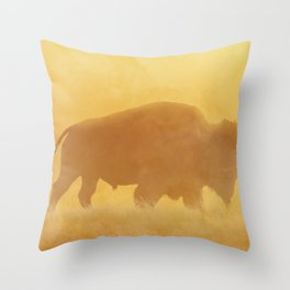 Wild Sunset (Profile of Buffalo) Throw Pillow