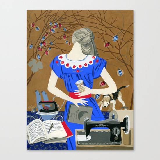 Lady in a blue dress Canvas Print