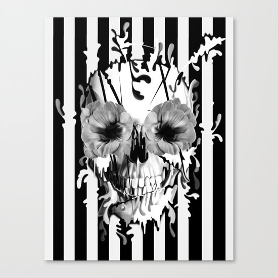 Limbo, Skull with poppy eyes Canvas Print
